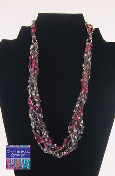 Ribbon Necklace Rosy Pearl by ShopOfftheHook on Etsy, $20.00