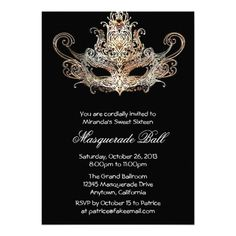 Sweet Sixteen Masquerade Ball Invitations #sweetsixteen #masquerade #birthday