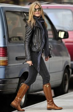 Black skinny jeans, black tank, scarf, black leather jacket, cognac boots