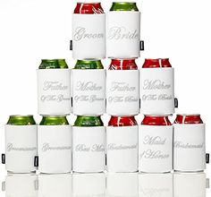 Novel Wedding Party Insulating Can Covers - Set of 12 Koozies Printed with Titles of Most Distinguished Wedding Attendees. Shopswell | Shopping smarter together.™