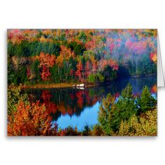 Mt. Katahdin Surrounding Autumn Scenery II Blank Greeting Card by KJacksonPhotography --  Taken 10.12.2014 Salmon Stream Lake surrounded by the colorful canopy of autumn leaves of the forest just below Mt. Katahdin - brilliant dazzling reds,oranges and golds. The lake beautifully reflects the kaleidoscope of colors of this fall's vivid hues. From the I95 scenic turnout, mile marker 252 in Maine.PC:244.285