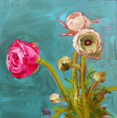 """Ranunculus"" - Original Fine Art for Sale - © Sandy Haynes"
