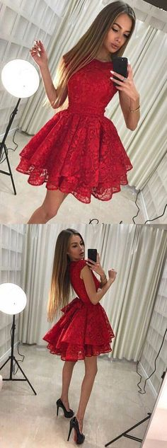 On Sale Engrossing Red Lace Homecoming Dress Round Neck Red Full Lace Cap Sleeves Homecoming Dresses 2 Piece Homecoming Dresses, Elegant Bridesmaid Dresses, Hoco Dresses, Dance Dresses, Pretty Dresses, Beautiful Dresses, Formal Dresses, Red Hoco Dress, Short Red Dresses