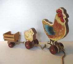 Rooster pull toy Vintage toy Kids Chick by jewelryandthings2, $34.00