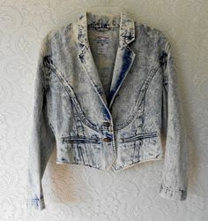 Vintage Acid Washed Jacket 80's Cropped Tuxedo by luvofvintage, $38.00