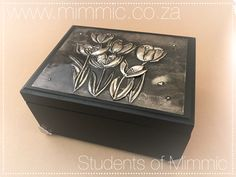 Jewelry box by Sally from our Wednesday class. www.mimmic.co.za Pewter Art, Pewter Metal, Metal Embossing, Foil Art, Metallic Paint, Sally, Wednesday, Jewelry Box, Decorative Boxes