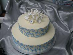 Simple blue on white wedding cake. Yummy Cakes, Wedding Anniversary, Wedding Cakes, Birthday Cake, Simple, Desserts, Food, Google, Blue