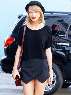 Taylor Swift rocks a mini-skirt as she heads into the studio on Wednesday in L.A.