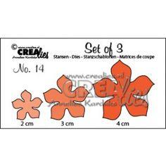 Crealies Set 3 Bloemen 5 bladeren die (2, 3, 4 cm)