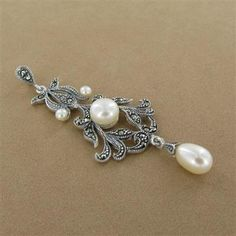 Seed Pearl & Marcasite Will-you-marry-me Question Mark Drop ...