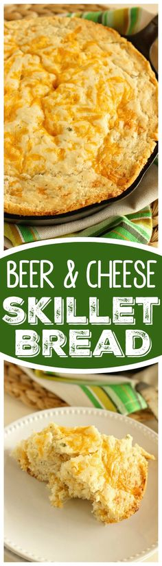 This Beer & Cheese Skillet Bread recipe is super easy and delicious! Plus it requires minimal ingredients!