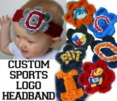 Baby Girl College or Pro Sports Headband. $12.00, via Etsy. LOVE! We need a bears one, a cubs one, a Blackhawks one, and an NIU one!!!!!