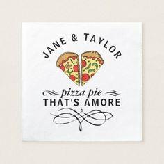 Love Pizza Add Names Paper Napkin - love gifts cyo personalize diy