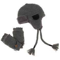 47865840349 The thick knit with Sherpa lining of this trapper hat and mitten set will  provide extra
