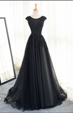 Black Tulle Appliques Beads Elegant Prom Gowns,Cap Sleeves Sexy V Back A Line Long Evening Dress