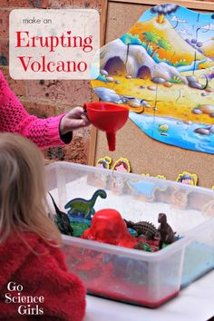Fun science - make an erupting volcano for prehistoric small world play. From Go Science Girls.