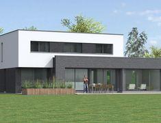 Construction cubique - Maison Pouwels AB architecte et constructeur Bauhaus, Beton Diy, Lobby Design, Sims 4 Houses, Construction, Modern House Design, Exterior Design, House Plans, Shed