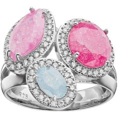 Sterling Silver Cubic Zirconia Multistone Halo Ring ($60) ❤ liked on Polyvore featuring jewelry, rings, multicolor, pink ring, cubic zirconia rings, sterling silver jewelry, round ring and sterling silver rings