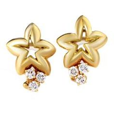 Chaumet Yellow Gold Diamond Star Clip-On Earrings 2