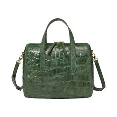 Fossil leather Sydney Satchel in embossed green crocodile. It has a perfect vintage bowling bag shape.