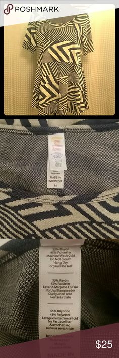 LulaRoe Perfect T- Never worn Blue/Off white design. Medium in the Perfect T typically fits a size 12-18. LuLaRoe Tops