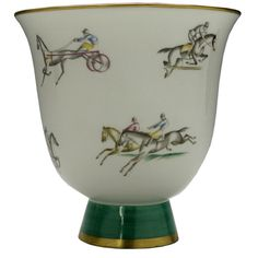 Gio Ponti for Richard Ginori Equestrian Vase  Italy  c. 1930s  Stylized Equestrian Themed decorated porcelain vase designed by Gio Ponti for Richard Ginori.