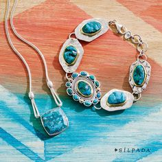 Timeless turquoise for timeless style.  Get These Jewels: https://mysilpada.com/shop/search?keywords=b3325%2Cn3345