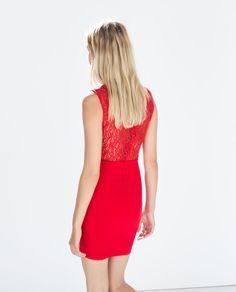 Image 3 of COMBINED DRESS from Zara Zara United Kingdom, Zara United States, Moda Zara, Vestidos Zara, Zara Fashion, Zara Dresses, Bodycon Dress, Clothes, Red