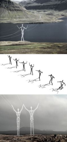 This design transforms mundane electrical pylons into statues on the Icelandic landscape by making only small alterations to existing pylon design. #Choi_Shine_Architects #The_Land_of_Giants #Iceland