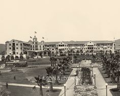 BEVERLY HILLS | THE BEVERLY HILLS HOTEL:  Looking north from the park across Sunset Boulevard (1914), via Hilton & Hyland.