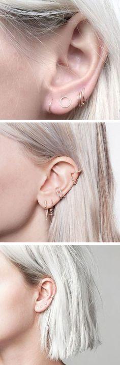 Minimalist Multiple Ear Piercing Ideas - Simple Cartilage Conch Lobe Gold Earring Ring Hoop Studs at MyBodiArt.com