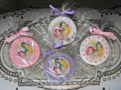 Galletas, piruletas y cupcakes de princesas disney con papel de azúcar y chocotransfer
