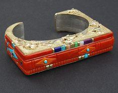 Cuff | Jesse Monongye (Navajo).  18K gold, silver, diamonds, coral, turquoise, opal, lapis lazuli, sugilite and gaspeite