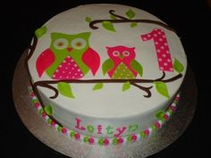 Pink, Green, Polka Dots and Owls. Who wouldn't love this cake by oakleygirl77 found on Cake Central.