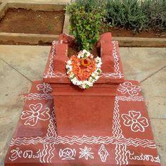 House Plants Decor, Plant Decor, Tulasi Plant, Elephant Quilt, Pooja Room Design, Flower Rangoli, Puja Room, Indian Homes, Prayer Room