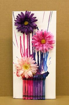 """Supplies 6""""x12"""" Canvas Crayola Crayons Craft or Silk Flowers Newspaper or Craftpaper hot glue gun and a blow dryer. Easy & perfect for a Mothers day gift"""