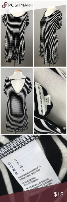 """American Eagle Black White Striped Free Fit Dress American Eagle Black White Striped Free Fit Dress. Size small, could fit a medium as well. Thank you for looking at my listing. Please feel free to comment with any questions (no trades/modeling).  •Fabric:  95% Viscose 5% Spandex  •Bust: 44"""" •Length: 34"""" •Condition:  GUC, no visible holes or stains.   25% off all Bundles or 3+ items! Reasonable offers welcome.   BIN: KB American Eagle Outfitters Dresses Mini"""
