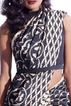 Black & white ikat printed sari