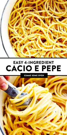 This easy Cacio e Pepe recipe only takes about 20 minutes to make with 4 simple ingredients. It's the perfect impromptu cheesy pasta recipe when you're craving some classic Italian food! New Recipes, Vegetarian Recipes, Dinner Recipes, Cooking Recipes, Favorite Recipes, Cooking Pasta, Cheesy Pasta Recipes, Cacio E Pepe Recipe, Pasta Facil