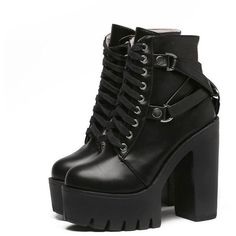 2017 BLACK FRIDAY- GOTH BUCKLE HIGH HEEL TOP BOOTS ($49) ❤ liked on Polyvore featuring shoes, boots, leather platform boots, leather boots, black leather boots, black boots and gothic platform boots #womensGothicboots