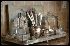 vintage silver, glassware and silver tray. I love tarnished vintage silver trays to anchor anything from a coffee table, to on top of a dresser or in a washroom. Kitchen Vignettes, Vintage Vignettes, Vintage Decor, Kitchen Items, Kitchen Storage, Kitchen Tray, Vintage Cutlery, Kitchen Display, Glass Kitchen