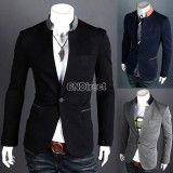 One Button Stand-up Collar Men's Suit Blazer Coats Jackets, http://www.shopcost.co.uk/
