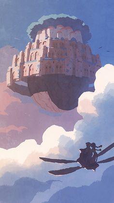 埋め込み画像 Studio Ghibli Art, Studio Ghibli Movies, Fantasy Landscape, Fantasy Art, Wallpaper Paisajes, Studio Ghibli Background, Castle In The Sky, Anime Scenery Wallpaper, Hayao Miyazaki
