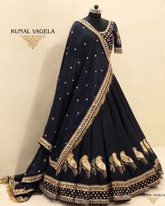 The post Blue gold bridal lehenga appeared first on Dress. Party Wear Lehenga, Bridal Lehenga Choli, Indian Lehenga, Gold Lehenga, Saree, Indian Gowns Dresses, Pakistani Dresses, Indian Designer Outfits, Indian Outfits