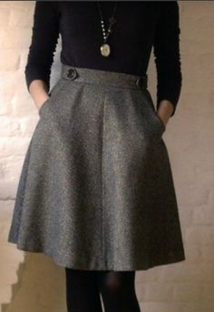 Office outfit grey wool skirt above the knees and black blouse