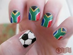 soccer nails want Fancy Nails, Love Nails, Pretty Nails, My Nails, Country Nail Art, Soccer Nails, Superhero Nails, Long Red Hair, Dark Hair