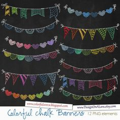 Colorful Chalk Bunting Banners, Rainbow Chalk Banners Clip Art, Chalkboard Digital Banners, Hand Drawn Banners, Chalk Ribbon Banners by DesignOnALara on Etsy Chalkboard Doodles, Blackboard Art, Chalkboard Writing, Chalkboard Drawings, Chalkboard Lettering, Chalkboard Designs, Chalkboard Ideas, Chalk Writing, Chalk Drawings