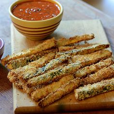 Healthy Crispy Breaded Zucchini & Squash from Feed Your Soul Too-- made these tonight- ate about a million of them and they are SO delicious!  used egg, almond milk and a little mayo for the middle dunk, and sprouted bread crumbs for the last dunk.