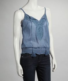 Take a look at this Blue Shirred Tank by Ruby Rose on #zulily today!