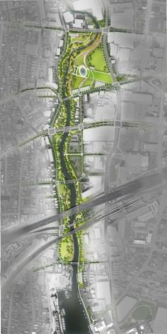2014 Update of the Mill River Park Masterplan Landscape Architecture Drawing, Landscape And Urbanism, Landscape Design Plans, Architecture Graphics, Urban Landscape, Architecture Diagrams, Ancient Architecture, Sustainable Architecture, Architecture Plan
